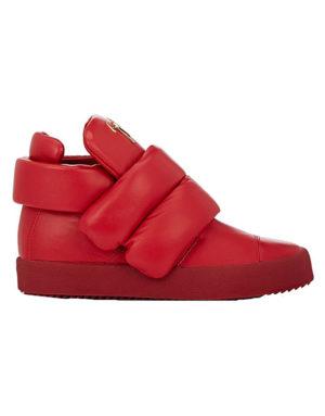 giuseppe zanotti red puffy strap sneaker