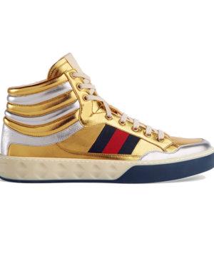 gucci metallic gold hightop sneakers